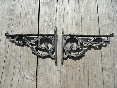 Pair Of Black Cast Iron Acanthus Lipped Brackets Shelf Brackets Wall Bracket