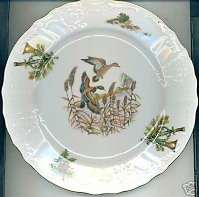 WILDLIFE DUCKS IN FLIGHT BERNADOTTE FINE CHINA OVAL SERVING BOWL *CZECH REPUBLIC