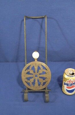 Vtg Antique Georgian English Brass + Iron Round Trivet w/ Porcelain Handle Knob