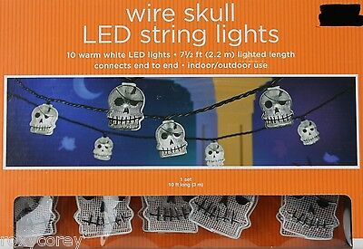 Halloween Wire Skull LED 10 Warm White String Lights Lighted Length 7 1/2 ft NIB