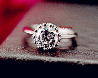 18k White Gold Plated Made with Swarovski Crystal Wedding Crown Ring R15