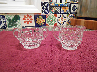 Fostoria American creamer and sugar small individual
