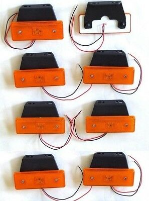 8 x 12V ORANGE AMBER LED SIDE MARKER LIGHT LAMP INDICATOR TRAILER HORSEBOX VAN