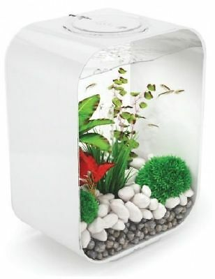 Biorb Life White 15L Portrait Incl Led Light Small Aquarium Fish Tank Oase