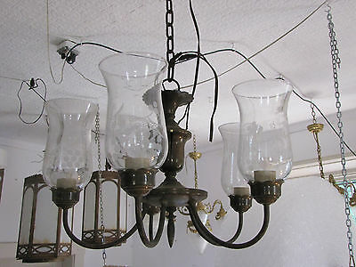 5 Arm Brass Light With Hurricane Shades 5749