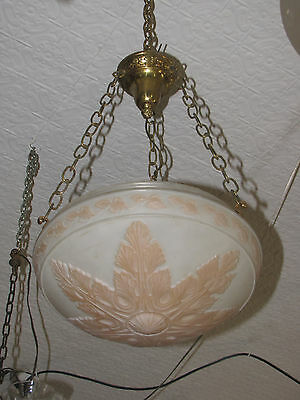 Large Glass Dome Light With Pink Acanthus Leaf Bottom 5750