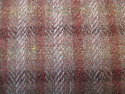 "2yds/29"" Vtg HAND WOVEN ALL WOOL FABRIC BROWN PLAID TWEED UPHOLSTERY REENACTMENT"