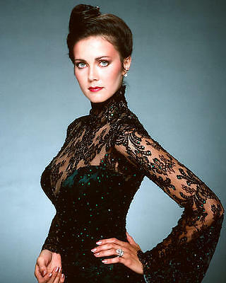 Lynda Carter stunning glamour pose in sexy black lace dress 24X36 Poster