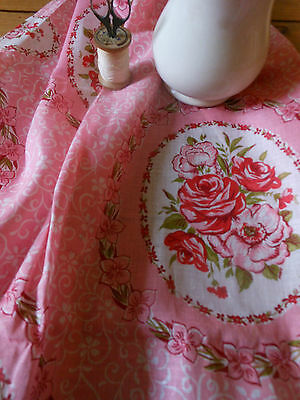 Antique Vintage Cottage Cameo Roses Cotton Fabric~Pink Red Moss Green ~1940's