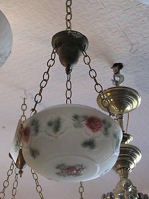 Reverse Painted Dome Shade With Roses And Leaves 5760