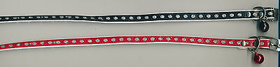 """Red or Black Cat or Dog PET COLLAR with bell and glitter 8 1/4-10 1/4"""", 3/8"""" w"""