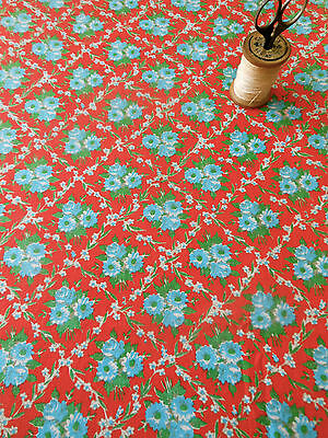 Vintage Retro French Cottage Roses Trellis Cotton Fabric~Red Blue White Green