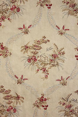 Antique French faded fabric ~ c1900 ~ floral ribbon bird design spectacular