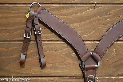 "2.5"" Heavy Dark Oil Leather Shaped Roping Breast Collar - Double Tugs"