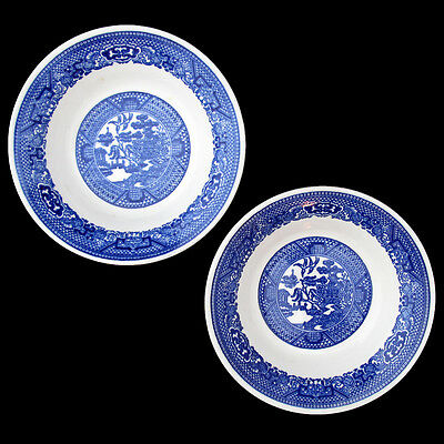 BLUE WILLOW DESSERT BOWLS UNMARKED TWO BOWLS