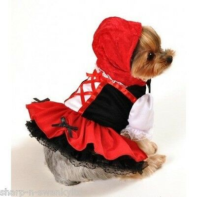 Pet Dog Cat Red Riding Hood Halloween Fancy Dress Costume Outfit Clothes XS-XL