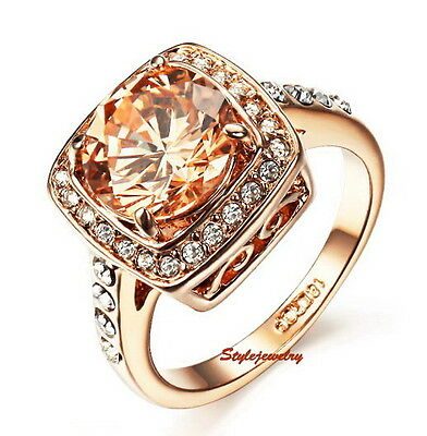 18k Rose Gold Plated Citrine Yellow Topaz Ring Made With Swarovski Crystal R189