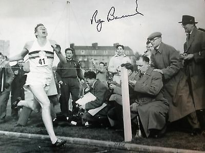 Sir Roger Bannister - First Sub 4 Minute Mile -   Signed B/W Action  Photograph