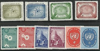 United Nations Scott #NY 59-68, Singles 1958 Complete Year FVF MNH