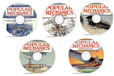 Complete Set 5 DVDs, Classic Popular Mechanics Magazine, 251 issues, 1904-1932