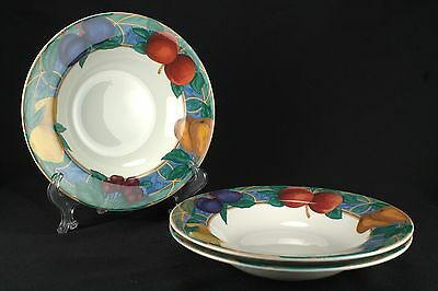 Victoria & Beale Forbidden Fruit 3 Rimmed Soup Bowls CHIPPED
