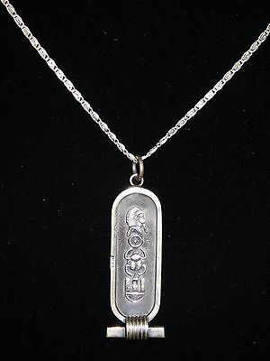 Egyptian Stamped Silver Solid 3D Cartouche Pendant Us Seller W. Silver Chain New