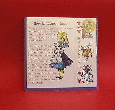 Alice in Wonderland Design Blank Gift Card ' Alice ' With Att. Bookmark Gift NEW