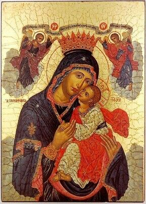 "Madonna w Child 5"" Byzantine Greek Serigraph Saint Icon Religious Room Decor"