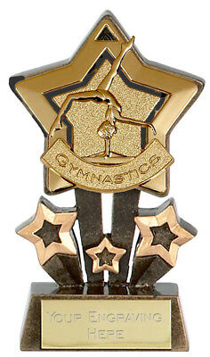 """GYMNASTICS Star Trophy FREE ENGRAVING Gold Silver or Bronze Personalised 4.25"""""""