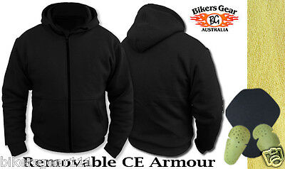 NEW Motorcycle 100% Full Kevla Ultimate Protection Black Hoodie FREE CE ARMOUR