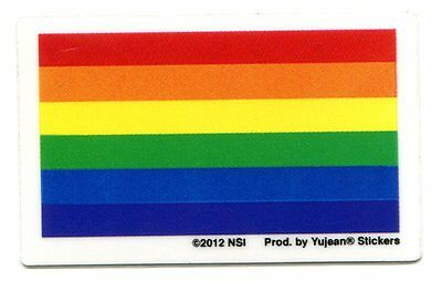 RAINBOW FLAG gay pride STICKER  **FREE SHIPPING** -d 21004 rights marriage