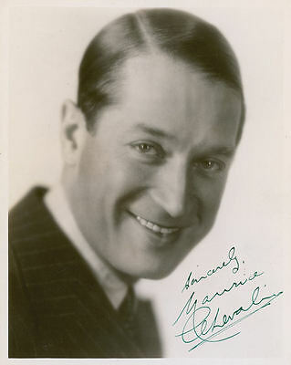 "10""x8"" PHOTO PRINTED AUTOGRAPH - MAURICE CHEVALIER"