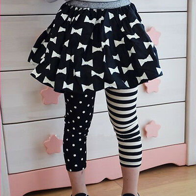 Kids Girls Toddlers Polka Dot&Stripe Leggings Tight Render Pants Trousers 1-9Y