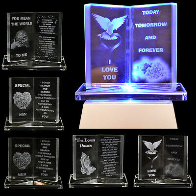 Engraved Glass Crystal Book Gift Set Poem Message Writing Sentiment Ornament