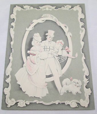 Vintage Christmas Greeting Card Gray and Pink Victorian Couple Dog Shopping 1947