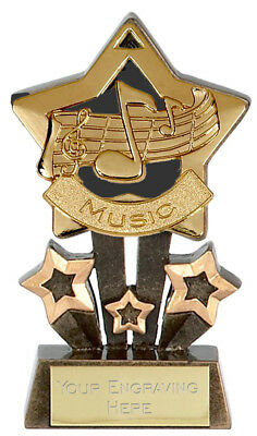"MUSIC Star Trophy 4.25"" FREE ENGRAVING Gold, Silver or Bronze 1st 2nd 3rd New"