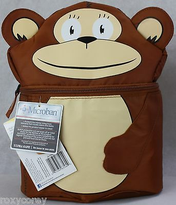 Arctic Zone Brown Monkey Dual Compartment Insulated Lunch Bag Tote 9x5x10 NWT