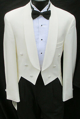 Ivory 6 Button Tailcoat Halloween Costume Theater Dickens Dracula Victorian 39R