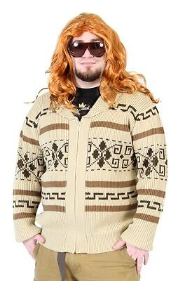 Adult Movie The Big Lebowski Jeffery The Dude Zip Up Costume Cardigan Sweater