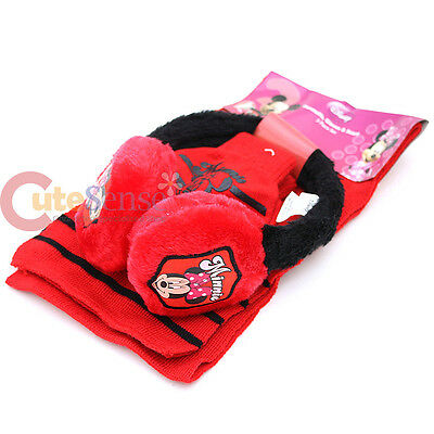Disney Minnie Mouse Kids Earmuff Gloves and Scarf 3pc Set - Red Black
