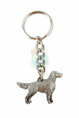 English Setter Keychain Pewter Silver Key Chain Ring Tail Down