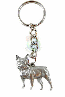 French Bulldog Dog Fine Pewter Silver Keychain Key Chain Ring