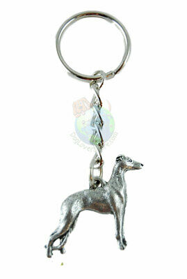 Whippet Dog Fine Pewter Silver Keychain Key Chain Ring