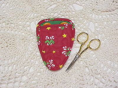 Holiday Candy Canes Quilted embroidery scissor holder CUTE