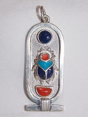 Egyptian Silver Stamped Cartouche  Precious Gems Revival Scarab Beetle Surface