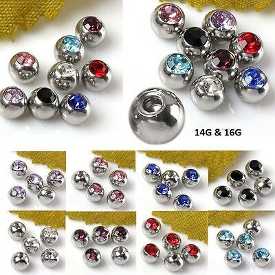 Crystal Ball Beads For Navel Lip Eyebrow Tongue Ear Ring Bar Pins Body Jewelry