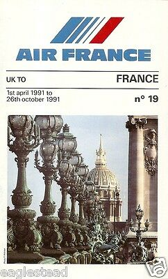 Airline Timetable - Air France - 01/04/91 - UK Edition - S