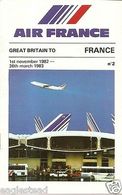 Airline Timetable - Air France - 01/11/82 - Great Britain Edition - S