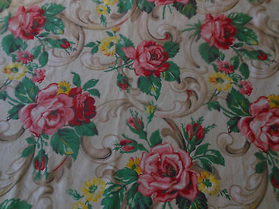 Antique Vintage Shabby Roses & Scrolls Fabric ~ Pink Red Yellow Green ~ 1940's