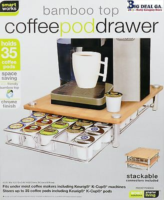 Smart Works Bamboo Top Coffee Pod Drawer Stores Up To 35 Keurig Cups